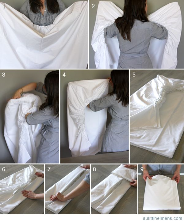 How to fold a fitted sheet. I swear, this may be the death of me...but I'll get it. My mom has it mastered. -T
