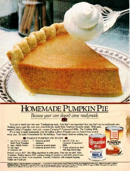 Famous Pumpkin Pie Recipe from 1985 Carnation  Libby's Ad.