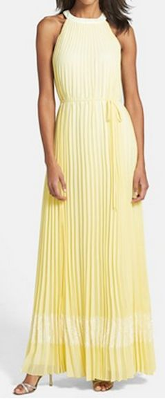 Gorgeous pleated halter maxi dress in #yellow http://rstyle.me/n/gesz9nyg6