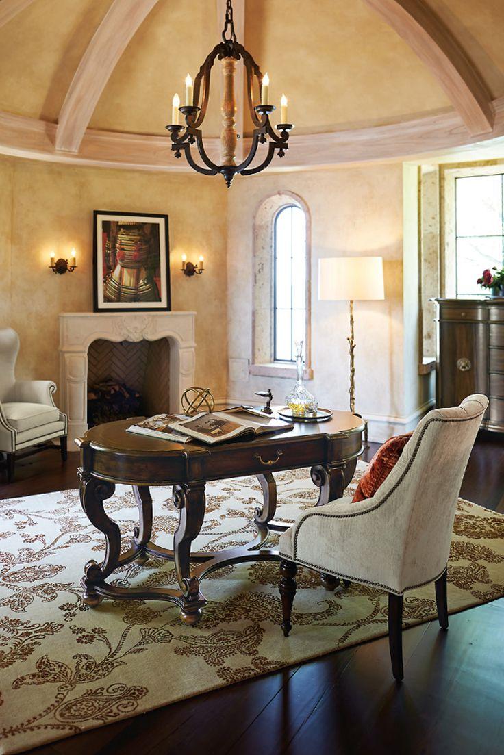 Lexington furniture chair fabric gold additionally ikea swivel chairs - Bernhardt Villa Medici Desk Mahogany Primavera Inlay Gold Tipping For The