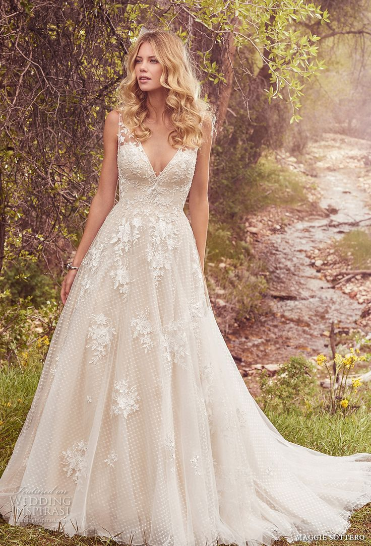 maggie sottero spring 2017 bridal sleeveless lace strap deep v neck heavily embellished bodice romantic a  line wedding dress low back chapel train (meryl) mv -- Maggie Sottero Spring 2017 Wedding Dresses