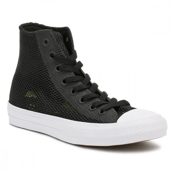Converse All Star Chuck Taylor II Mens Black/White Hi Top Trainers ($84) ❤ liked on Polyvore featuring men's fashion, men's shoes, men's sneakers, black white mens dress shoes, converse mens sneakers, mens hi tops, mens shoes and mens high top sneakers