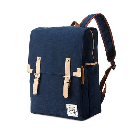 Simple cotton Square Backpack Navy by BagDoRi on Etsy