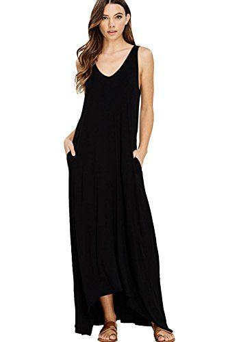 c0f1e278243 NASKY Femme Robe Sans Manches Longue Ete Robe Boheme Chic Maxi Plissée  Casual Maxi Dress Avec Poches (Large Noir)