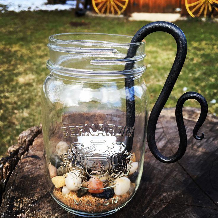 Mason jar candle holder. #handcrafted#blacksmith #simpleproject #oldetymesmithshop