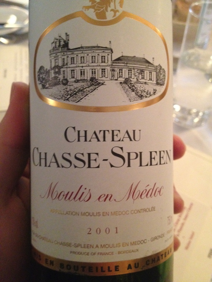 The Chateau Chasse-Spleen always punches above its price.  Moulis en Medoc (Bordeaux) just doesn't get the respect it deserves.  The 2001 was pretty good during a project in London.: Chateau Chass Spleen, Chateau Chassespleen, Chateau Chasse Spleen