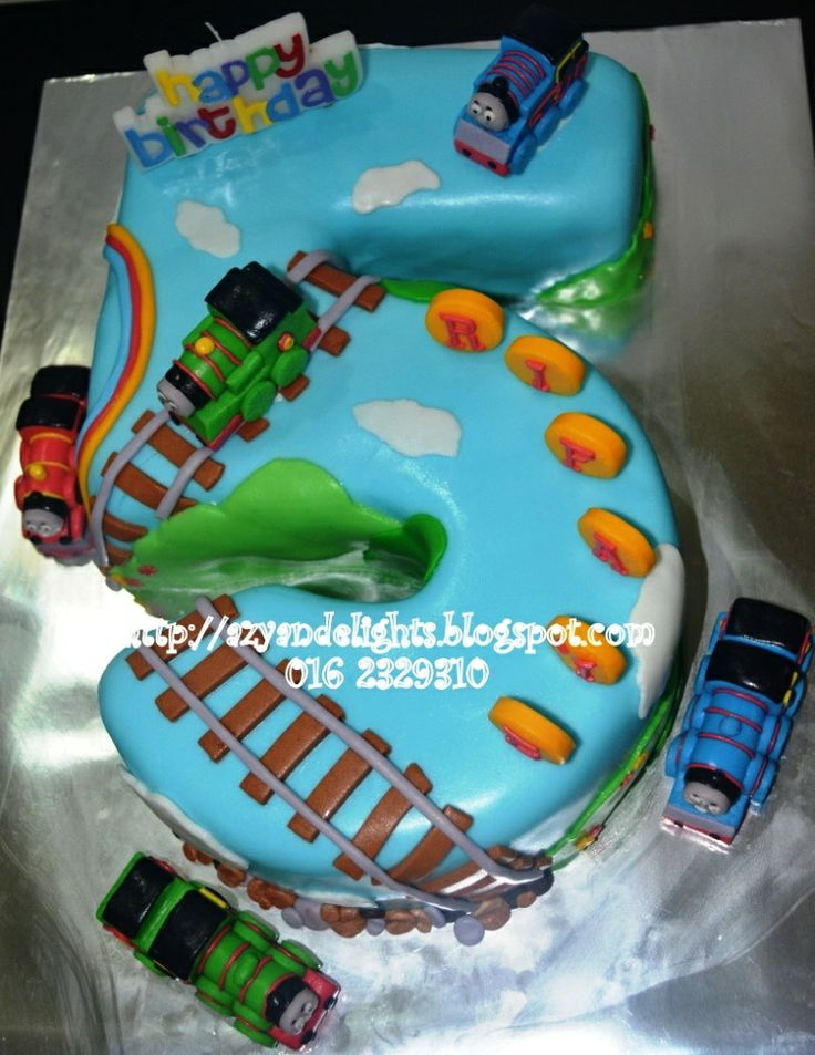 Azyandelights: Number 5 Cake - Thomas and Friends Cake