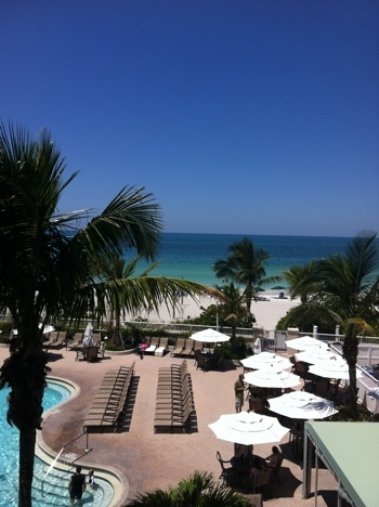 View from the room at Lido Beach Resort in Sarasota.