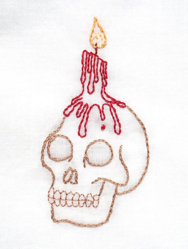 halloween skull candle holder hand embroidery pattern pdf 150 via etsy - Halloween Hand Embroidery Patterns