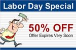 Sale on labor day special advertise on custom vinyl banner. Print banner online at bannerbuzz.ca