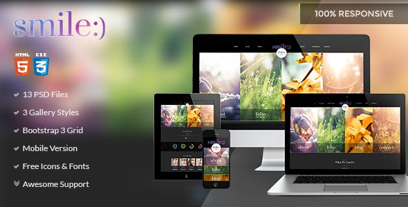 FULL PREVIEW: http://themeforest.net/item/smile-creative-one-page-multipage-html-theme/8318609?WT.ac=new_item&WT.z_author=SnoopyIndustries  Smile is flat singlepage & multipage HTML template. It suits for any type of design studio, portfolio, personal website, business etc. There are 3 portfolio styles: 3, 4 and 5 columns. Mobile version included!