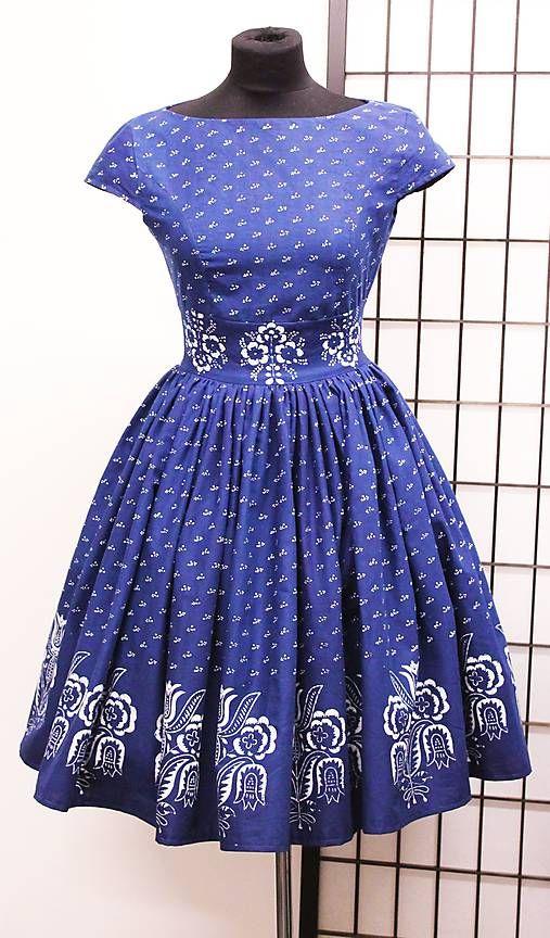 Modrotlačové šaty + tylová spodnička   mara.zb  0d5bd32c42