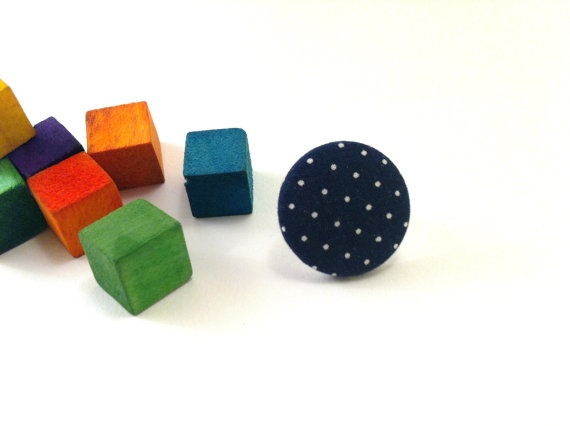 Blue dots fabric covered button ring