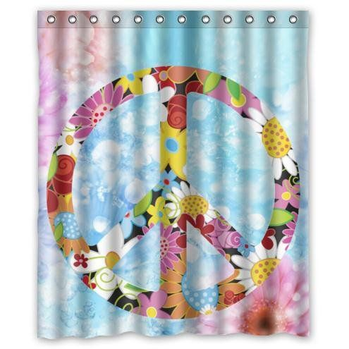 Fashionable Design Peace Day Flowers Pattern Waterproof Bathroom Shower Curtain 100 Polyester Fabric