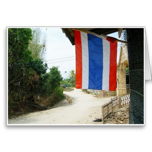 Thai Flag - This is the highly respected flag of the Kingdom of Thailand. In every village town in Thailand, the national flag is raised each day at 8.00 a.m. and lowered at 6.00 p.m. The national anthem is played during these ceremonies. The red is for the nation, the white is for the religion and the blue is for the monarchy. These three concepts unite the Thai people. #thailand #thai #flag #nation #country #pride #monarchy #kingdom #southeastasia #orient #oriental