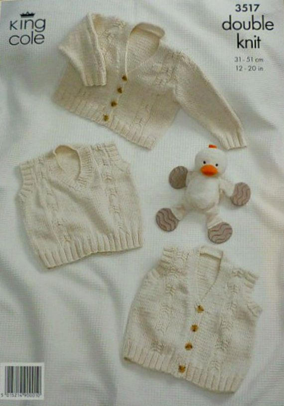 Knitting pattern for Babies V-Neck Jumper & Cardigans with Cable Design in DK by King Cole (No. 3517). Includes instructions for Long Sleeve
