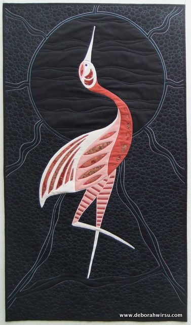 'Brolga Moon' Art quilt featuring stylised brolga, with influences from indigenous art