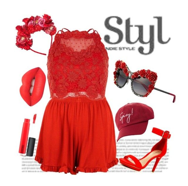 """""""# Red hot look"""" by kavyav-cheery on Polyvore featuring Boohoo, River Island, MANGO, Charlotte Russe, Gianni Bini, Dolce&Gabbana, Lime Crime and MAC Cosmetics"""