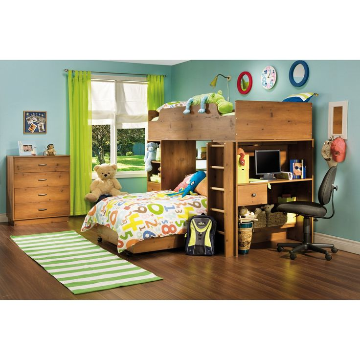 South Shore Logik Sunny Pine Twin Loft Bed - The Logik Sunny Pine Twin Loft Bed grows up with your child. No built-in themes or stifling colors - just room to decorate and display his or her own ...