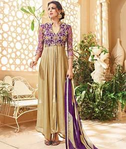 Buy Beige Georgette Pant Style Salwar Kameez 72377 online at lowest price from huge collection of salwar kameez at Indianclothstore.com.