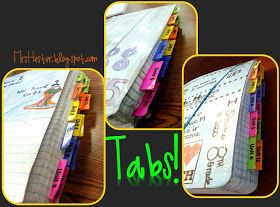 How to make tabs for notebooks: make a quick table in word, print on colored cardstock, laminate.