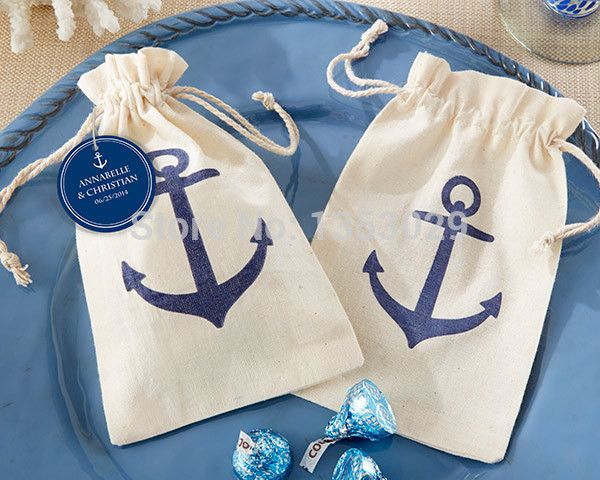FREE SHIPPING! 20pcs/Lot Voyages Anchor Muslin Bags Nautical Beach Theme Bridal Shower Wedding Favors Candy Bags without Tags(China (Mainland))