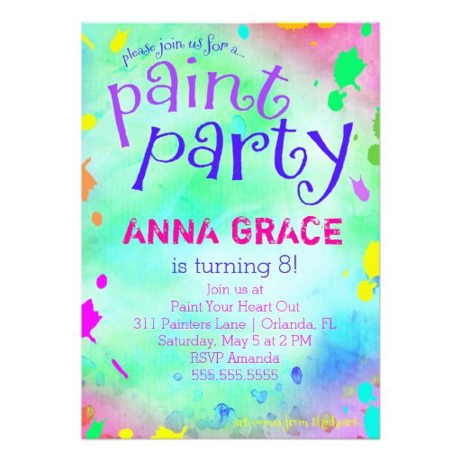 421 best colorful birthday party invitations images on pinterest gc paint party birthday 5x7 paper invitation card filmwisefo Choice Image