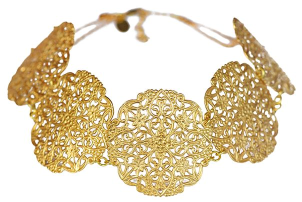 Gold lace collar choker necklace. http://wedreamincolour.com/jade/gilt.011.php
