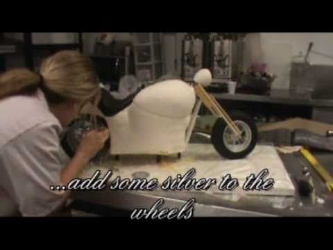 video - start to finish, how Libby Rowe (Elizabeth Rowe) sculpts and creates a pretty amazing Harley Davidson cake, that stands up by its self and is completely 3d.