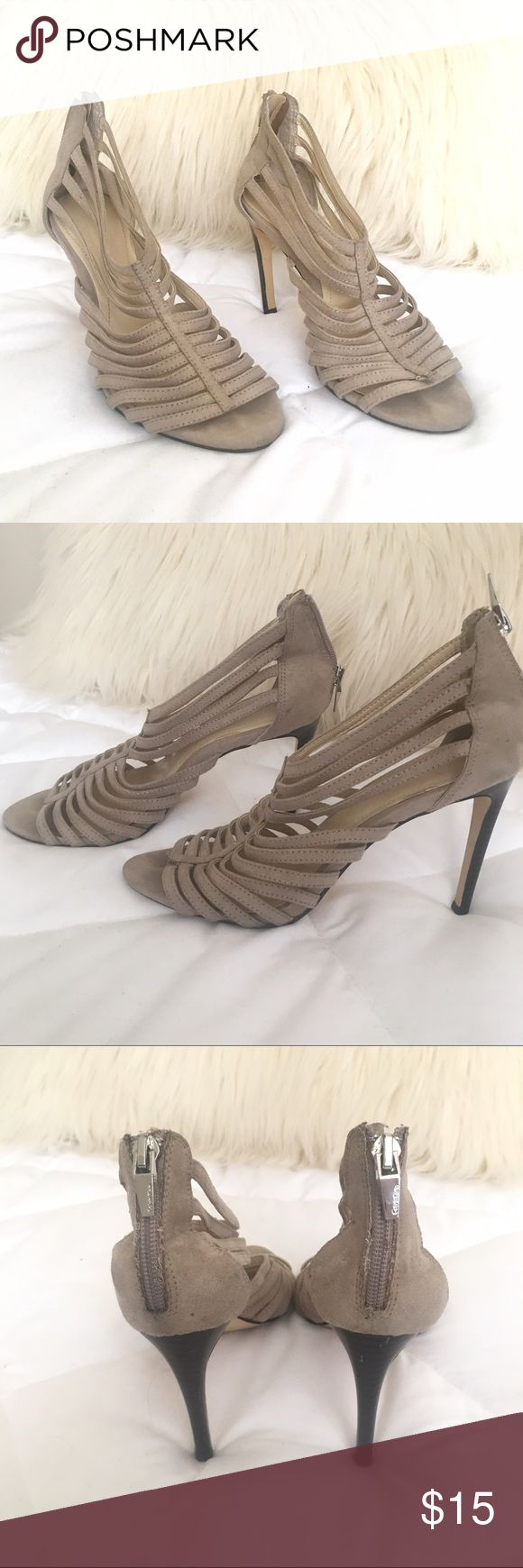 Calvin Klein strappy heels ✨ Calvin Klein strappy heels in the color beige ✨ shoe size is 6.5 in women's. Material is suede. These shoes have been worn and pre-loved! Price reflex condition. Imperfections: strap on the left shoe has come undone (shown in last photo) Calvin Klein Shoes Heels