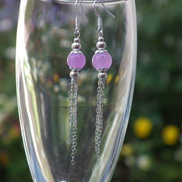 My daily challenge - day 72  #lismdc #lismjewelry #jewelry #earrings #925 #925silverjewelry #jade #purple #handmadewithlove