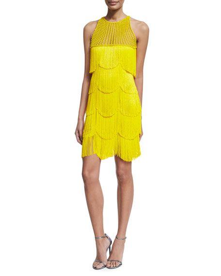 Neem khan Beaded Fringe Sleeveless Cocktail Dress, Yellow