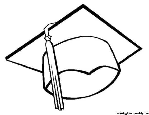 Graduation Cap Coloring Page Desain Gambar