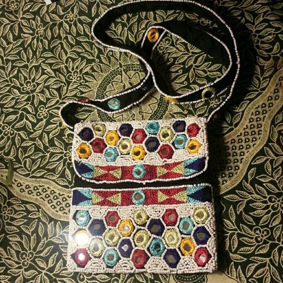 "Bershka small satchel. NWOT small Bershka beaded, mirrored bag. Strap is 34"" total length. Bag is 5.5""x 6"". Darling little bag. Best for a young girl. Bershka Bags Satchels"