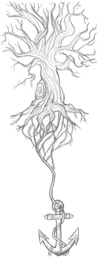 "I like the concept of anchor as roots or to be ""grounded""...preferably made of celtic knots."
