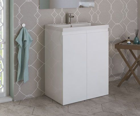 Loft White 600 Extra Depth Freestanding Vanity Unit with Sink - V50121250FS scene2 square medium