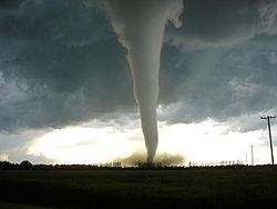 Une tornade (de l'espagnol tornado, dérivé du verbe tornar, tourner) est un vortex (tourbillon) de vents extrêmement violents, prenant naissance à la base d'un nuage d'orage (cumulonimbus) lorsque les conditions de cisaillement des vents sont favorables dans la basse atmosphère. De très faibles tornades peuvent également se développer sous des nuages d'averses (cumulus bourgeonnant).