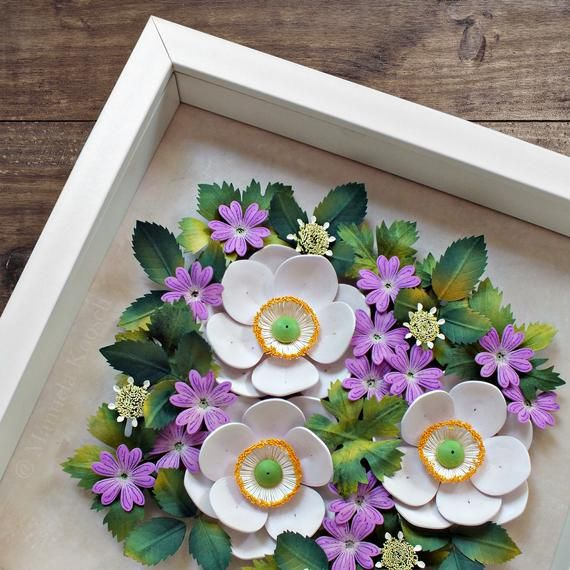 Paper Quilling Flowers Wall Art Summer Flowers White Anemone And
