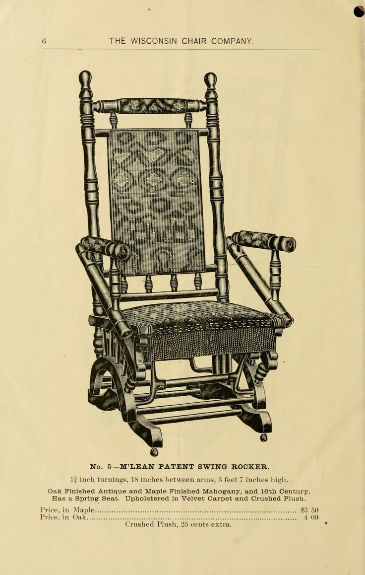 Hand carved amp upholstered chair late 1800 s grand rapids mi area -  The Wisconsin Chair Company Manufacturers Of The Mc Lean Patent Swing Rocker Platform