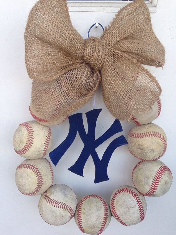 Hey, I found this really awesome Etsy listing at https://www.etsy.com/listing/153453398/new-york-yankees-burlap-baseball-wreath