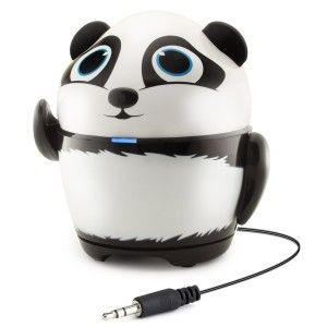 GOgroove: Groove Pal Panda Kid-Friendly Animal Speaker Rechargeable Battery & Portable Design for Smartphones, Tablets, MP3 Players & More. This is not-Bluetooth capable and although it says kid friendly, it will break if not handled correctly. There are several Pals including Owl, Koala, Penguin, Polar Bear, Tiger, and last but not least, Panda Pal. http://awsomegadgetsandtoysforgirlsandboys.com/gogroove/ GOgroove: Groove Pal Panda Kid-Friendly Animal Speaker