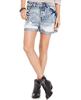 Celebrity Pink Jeans Juniors' Acid-Wash Boyfriend Shorts - Juniors Shorts - Macy's