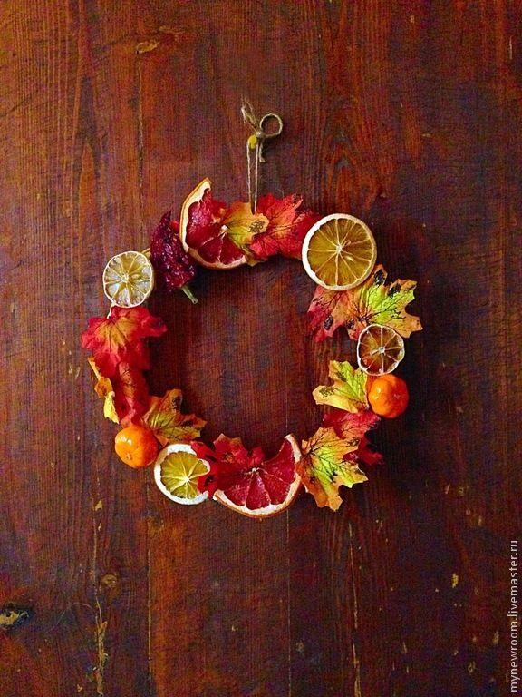 Украшение для двери  - оранжевый, осень, осенний декор, листья, осенние листья, апельсины fall orange autumn leaves