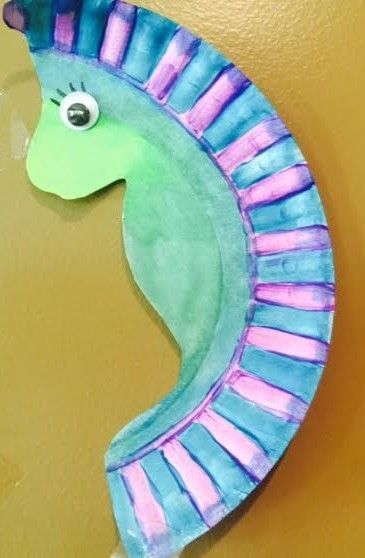 Paper Plate Seahorse Crafts
