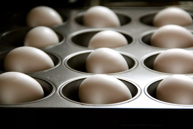 I don't believe I will ever boil eggs again!  Tried this at home and it worked wonderfully.  The eggs I used I had just purchased at the store (usually that means they will not peel well) and they peeled perfectly.  The texture was wonderful.  Whites were not rubbery and yolks creamy.