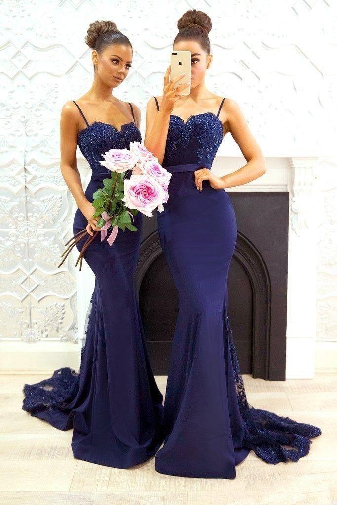 Blau Brautjungfernkleider Lang Günstig Meerjungfrau Kleider Für Brautjungfern Hochzeit_Brautkleider,Abiballkleider,Abendkleider