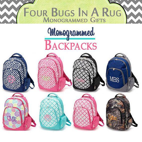 Personalized Backpack  Large Monogrammed by fourbugsinarug on Etsy