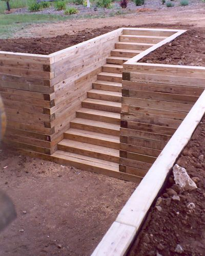 Timber retaining wall and stairs