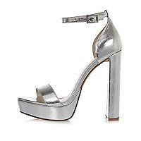 Metallic upper Double strap design Buckle ankle strap Platform heel Heel height 13cm