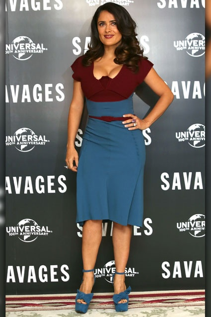 Savage Beauty?    Salma Hayek attends a photocall for Savages at the Mandarin Oriental on September 19, 2012 in London, England. Is this two-toned look something she needs to tone down, or is she the sexiest gal in London Town?